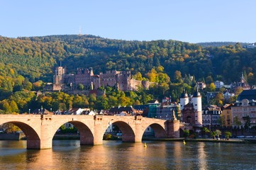 Castle and the Old Town in Heidelberg, Germany
