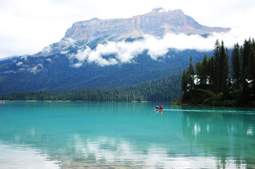 Canoeing on Emerald Lake, Yoho National Park