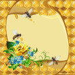 Background with bees, yellow rose, cornflowers and honeycomb