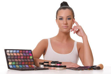 beautiful young girl with cosmetics
