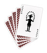 Playing cards - red back side and joker