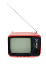 Old red television on white background