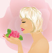 Beautiful girl with rose, vecor illustration