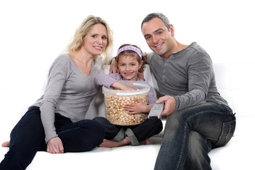 Family with popcorn
