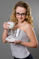 Beauty blondy model girl with coffe