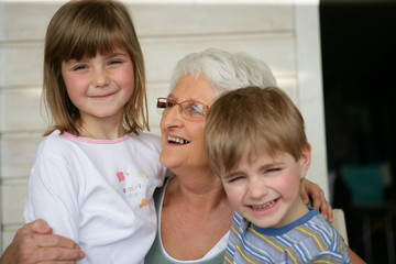 Grandmother looking after grandchildren