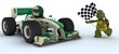3D render of a Tortoise in race car winning at chequered flag