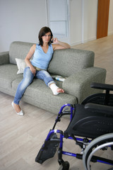 Woman with her leg in a cast