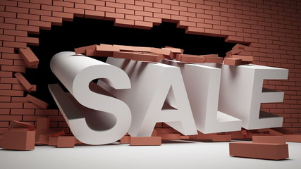 Brick wall is destroyed by the word of SALE