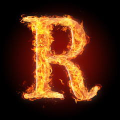 Fonts and symbols in fire for different purposes - R