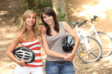 Girls mountain-biking