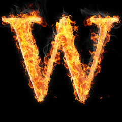 Fonts and symbols in fire on black background - W