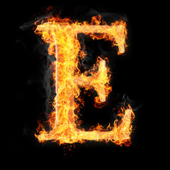 Fonts and symbols in fire on black background - E