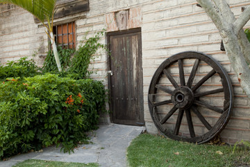Old, traditional wooden cottage house in mexico