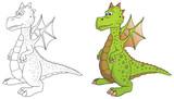 Fototapety comic drache coloriert und outlines