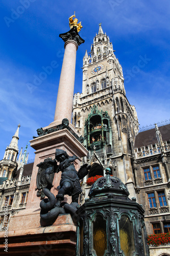 Marienplatz the clock tower of Munich Germany