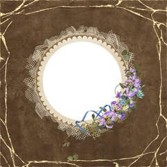 Round frame with iris bouquet