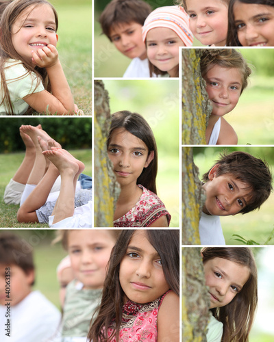 Montage of children playing in the park
