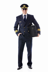 The pilot of a suitcase on a white background