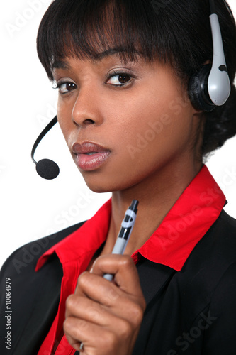 close-up portrait of black receptionist
