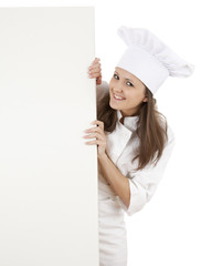 woman chef, baker or cook smiling happy holding blank  billboard