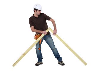 Woodworker erecting frame