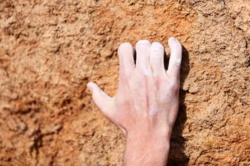 Climbing hand closeup