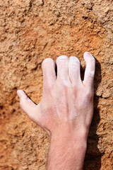 Climbing hand grip on rock