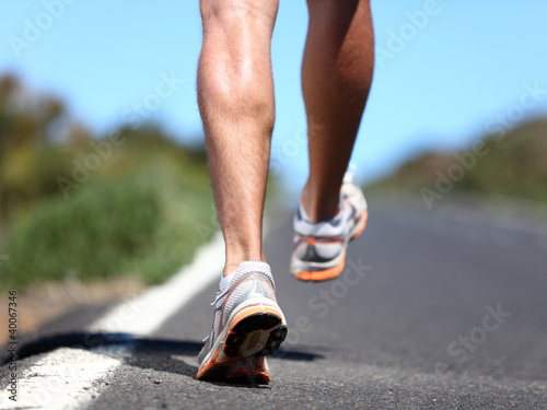 Running sport shoes on runner