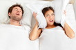 Snoring man - couple in bed - 40067522
