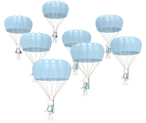 3D little human characters X 8 with Parachutes and Tablet Pad.