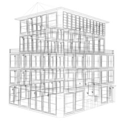 Perspective view of wireframe seven storey building