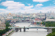 Pushkinsky and Krymsky bridges at day in Moscow, Russia