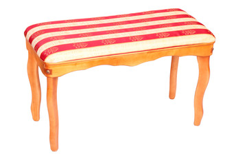 wooden classic stool with striped upholstery isolated on white