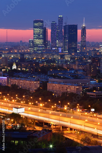 Buildings of Moscow City complex of skyscrapers at evening