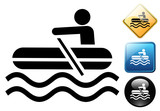 Inflatable raft pictogram and icons