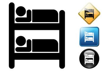 Bunk bed pictogram and icons