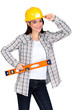 Chirpy female worker with spirit level