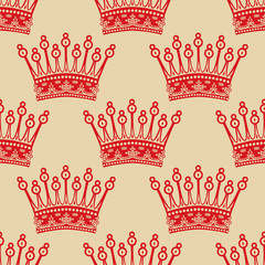 Vintage seamless background with red crown pattern.