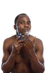african american shaving his face