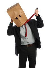 Businessman With Paper Bag on Head Pulling Ties