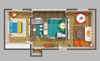 Interior design - 3d home project - cozy small apartment