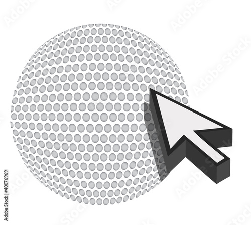 golf ball with cursor arrow - sport shopping concept