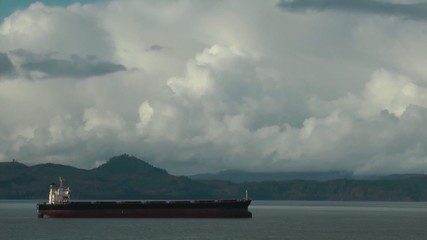 Cargo ships at anchor on the Columbia river