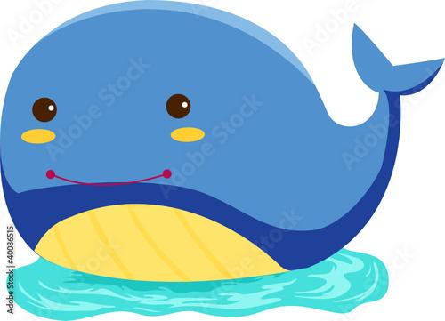 卡通蓝色鲸鱼手机壁纸