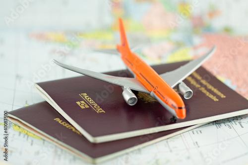 Photo sur Plexiglas Avion à Moteur passeport, voyage par avion