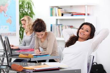 Girl relaxing in class
