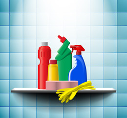 Group of detergents on the bath shelf