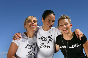 Three female friends outdoors