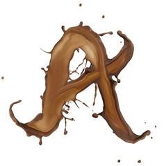 Chocolate splash letter isolated on white background